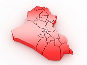 Three_dimensional map of Iraq on white isolated background. 3d