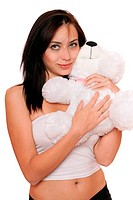 Dreamy cute girl with a teddybear. Isolated