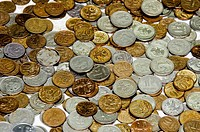Heap of coins, abstract background