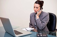 Young businesswoman sitting at her desk on the telephone