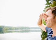 USA, New York, Putnam Valley, Roaring Brook Lake, Close up of man looking at view