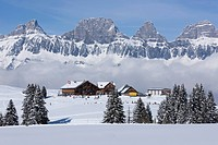Mountain, mountains, winter, snow, winter sports, canton, St. Gallen, St. Gall, Switzerland, Europe, Flums mountains, Churfirsten, skiing area, ski li...