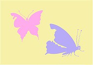 vector silhouette butterfly on yellow background
