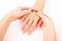 Massage of female hands by the female hands