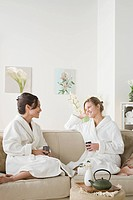 Two women relaxing in spa