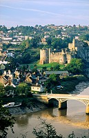 Chepstow Castle and town on the River Wye, Gwent, on the border between England and Wales, UK