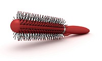 Red round hairbrush with bristle isolated on a white background