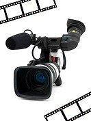 A Professional video camera isolated against a white background