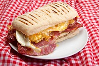 Panini with egg and bacon