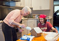 Washington, DC - 13 year old boy and his aunt, 62, make a gingerbread house