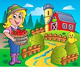Country scene with red barn 7 _ color illustration.