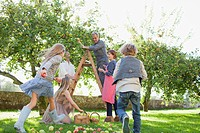 Multi_generation family harvesting apples in orchard