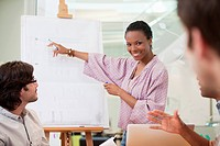 Businesswoman pointing to chart in meeting
