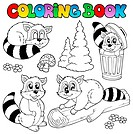 Coloring book with cute racoons _ thematic illustration.