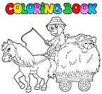 Coloring book with cart and farmer _ thematic illustration.