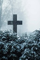 Cross in snowy field