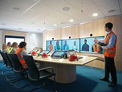 Construction workers in video conference