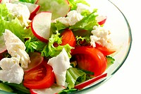 Salad of lettuce, vegetables and mozzarella.