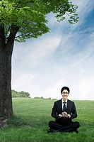 Businessman sitting on grass field, computer_generated