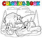Coloring book with happy animals 2 _ thematic illustration.