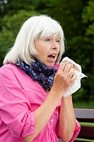 Elderly lady suffering from summer minor illness