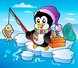 Cartoon fishing penguin _ color illustration.