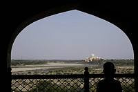 View of the Taj Mahal from Agra Fort, Agra, India