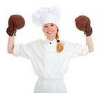 female cook in boxing gloves
