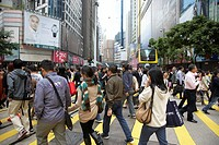 crowd of chinese shoppers on pedestrian crossing yee wo street causeway bay hong kong hksar china asia
