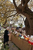 Produce for sale at the Arna chestnut festival, held on the last weekend in October, high on the slopes of the Taygetos mountains, Lakonia, Peloponnes...