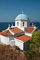 Orthodox church overlooking Neapoli Bay and the island of Elafonissos  At Paleokastro near Neapoli, Southern Lakonia, Peloponnese, Greece