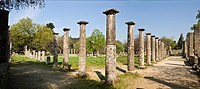 The ruins of the palaestra at ancient Olympia, Peloponnese, Greece