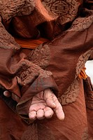 Detail of traditional mongolian clothes Mongolia