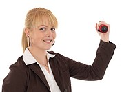 Young business woman with dumb bells