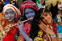 Children at Janmashtami festival Krishna´s birthday at Bhaktivedanta Manor ISKCON Hare Krishna temple, Watford, Hertfordshire, England, United Kingdom...