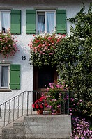 Flowers decorating a house