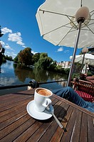 Espresso, cafe at a channel, Germany