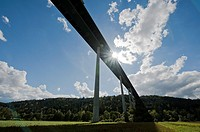 Freeway bridge, Neckartalbr&#252;cke over Neckar valley near Horb, Germany