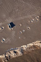 Aerial view of abandoned fishing boats in the Colorado River delta.
