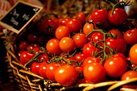 Ripe tomatoes are one of the many fresh items at this upscale grocery.