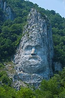 Monument to King Decebalus, Portille de Fier Iron gate, Danube Valley, Romania, Europe