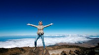 Woman at the top of Teide, Tenerife, Canary Islands, Spain