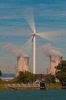 wind turbine and nuclear plant Provence France