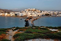 View of Naxos Town Chora near sunset from the Temple of Apollo on Naxos in Greece