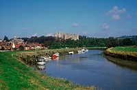 Country _ Britain River Arun with Arundel Castle beyond Sussex