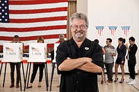 Caucasian voter standing in polling place