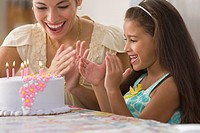 Excited mother and daughter with birthday cake