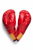 A pair of red boxing gloves in a heart shape