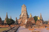The ancient ruins of Wat Chaiwatthanaram temple in the city of Ayutthaya, Thailand