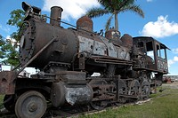 Old locomotive in the 'Jesus Menendez' sugar mill in the village of Chaparra in the province of Las Tunas in west in Cuba